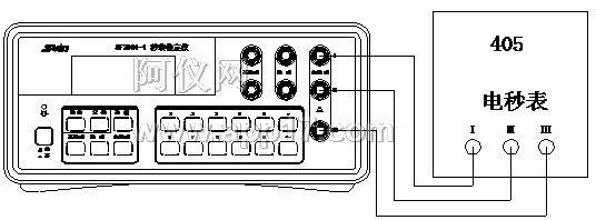 顺序正确连接到检定仪的电秒表功能的三个接线柱上
