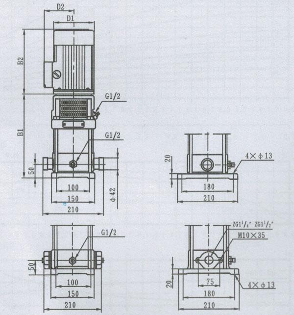 qdl4/qdlf4轻型立式多级离心泵安装结构图